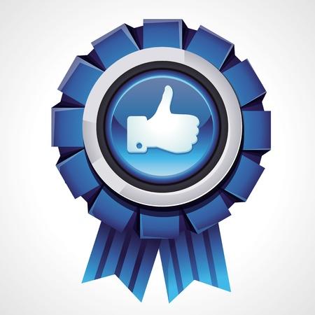 Vector zoals teken op glanzende award pictogram - sociale media teken voor aanhanger