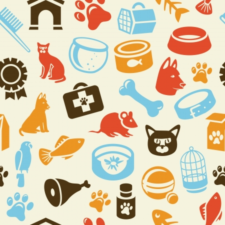 puppy and kitten: bright seamless pattern with funny cat and dog icons - vector illustration