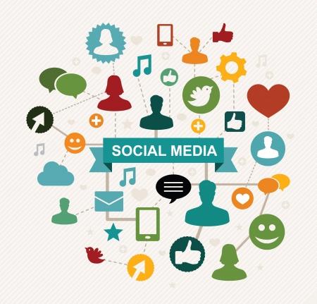 ajouter: sociale notion médias - illustation vecteur Illustration