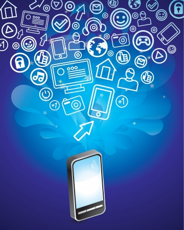 mobile phone with bright social media icons Vector