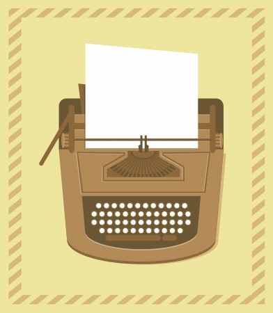 manual job: typewriter in retro style - vector card