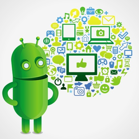 android tablet: Funny green robot with social media concept  - vector illustration