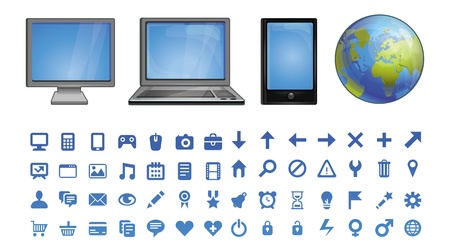 computer icons  - set of pictograms for software Stock Vector - 15869929