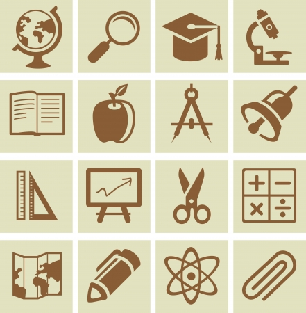 Vector design elements for school and university - collection of icons Vector