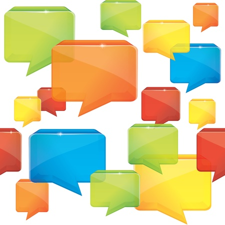social media seamless background with speech bubbles Vector