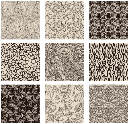 Set of abstract seamless patterns black and white - floral backgrounds Stock Vector - 15869935