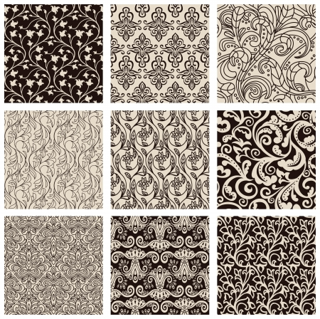dichromatic: Set of abstract seamless patterns black and white - floral backgrounds Illustration