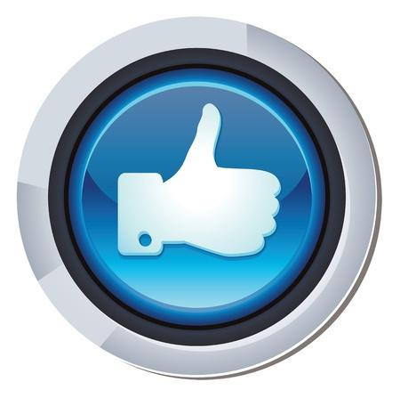 face book: vector bot�n redondo brillante en facebook como signo Vectores