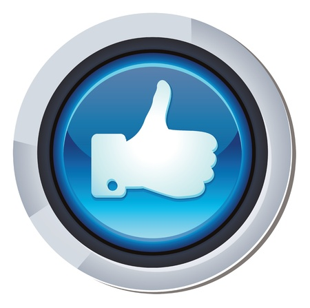 like button: vector glossy round button with facebook like sign Illustration