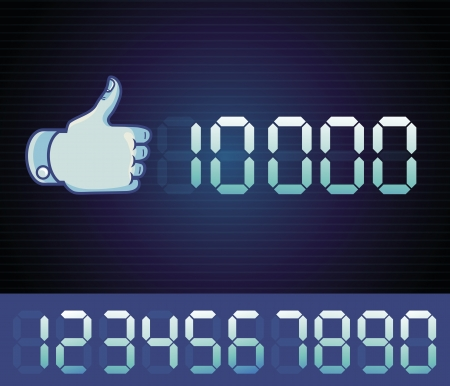 facebook: Vector like counter for social media page - digital like sign with numbers