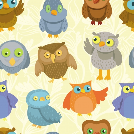 animal fauna: Vector seamless pattern with cute bright owls - background for kids