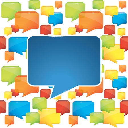 tecnology: social media background with speech bubbles - vector illustration