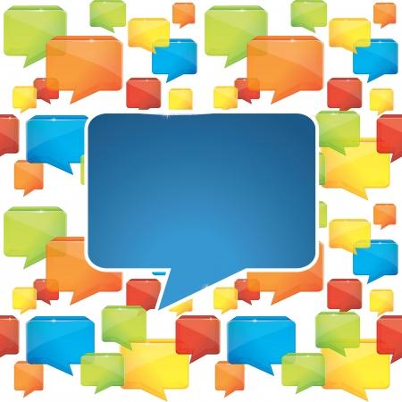 l'origine sociale des médias avec des bulles - illustration vectorielle