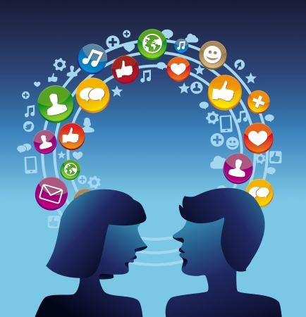 social system: Social media concept with man and woman profiles