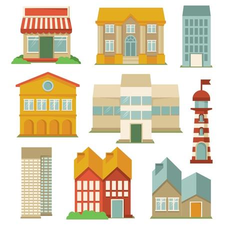 географический: Вектор, с зданиями иконы - элементы карты в стиле ретро Иллюстрация