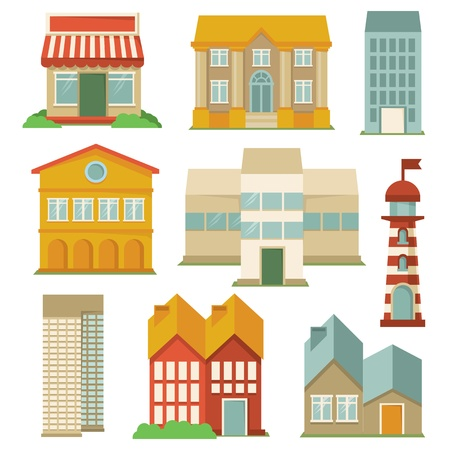 Vector set with buildings icons - map elements in retro style Vector