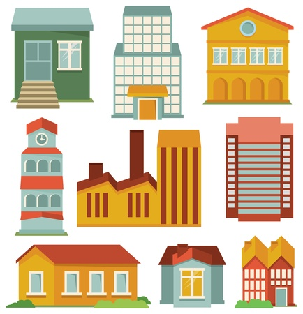 apartment block: Vector set with buildings icons - map elements in retro style