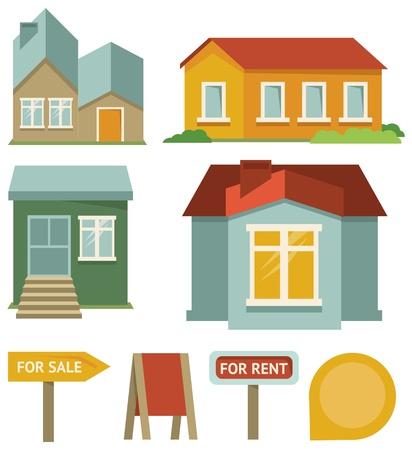 land mark: Vector conjunto de iconos de edificios - elementos del mapa en estilo retro
