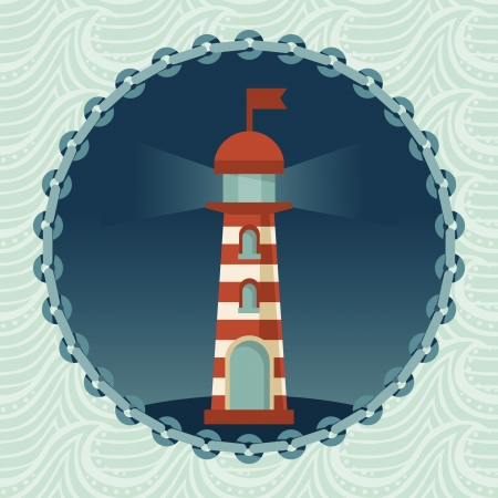 nautical structure: Vector lighthouse illustration - round badge in retro style