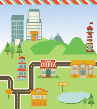 Vector map with houses, road and signs - illustration in retro style