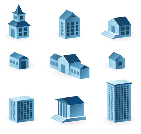 immovable property: set of 9 house icons