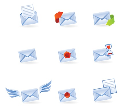 mail icons isolated on white