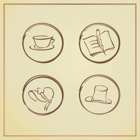 bonnet illustration: retro icons - vector illustration