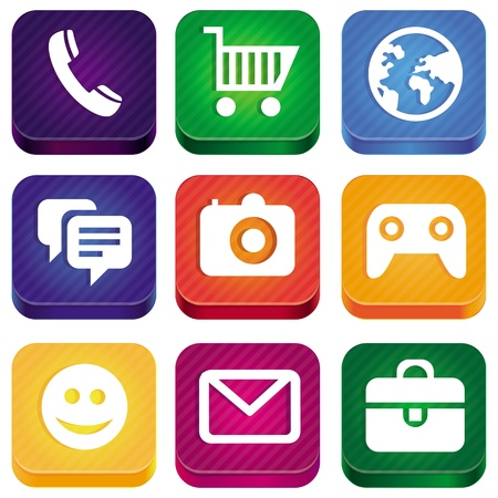 widget: bright app icons - technology pictograms and square buttons