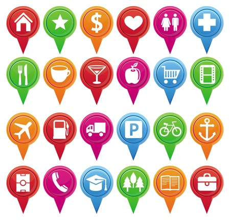 Set of bright markers for map and plan with navigational icons  Illustration