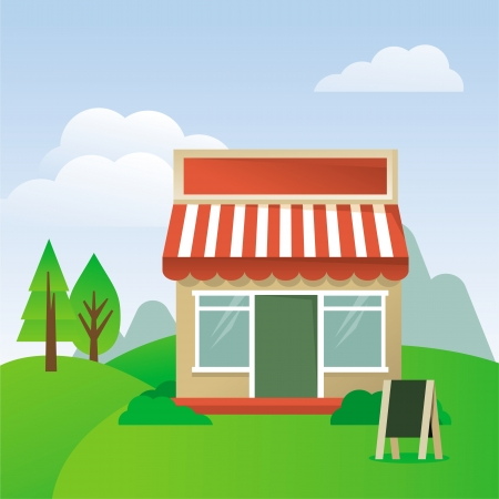 cartoon illustration - store house with striped awning Vector