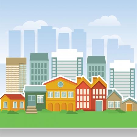 plan maison: ville avec des maisons de dessins anim�s et buidings - landsape Illustration
