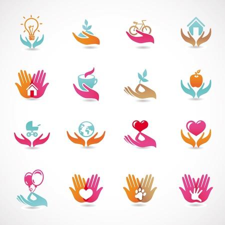 cajas fuertes: Vector set con signos de amor y cuidado - colecci�n de iconos abstractos Vectores