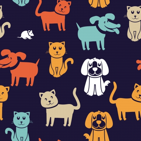 cute dog cartoon: Vector cartoon seamless pattern with funny cats and dogs - abstract background Illustration