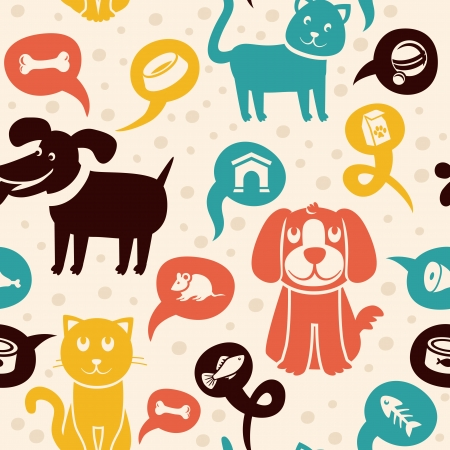 cat fish: Vector cartoon seamless pattern with funny cats and dogs  -