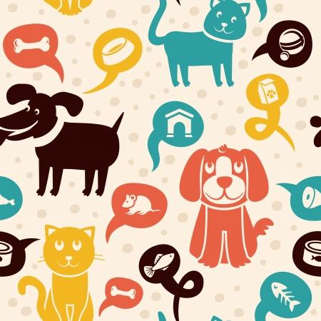 hueso de perro: Vector de dibujos animados patrón transparente con gatos y perros divertidos -