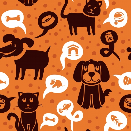 cartoon seamless pattern with funny cats and dogs  - Vector