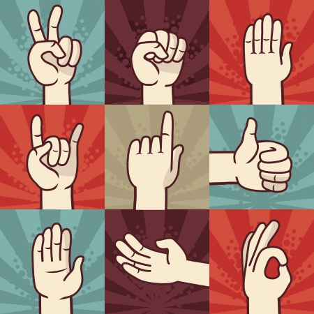 peace sign: Vector set of hands and gestures - illustration in retro comic style