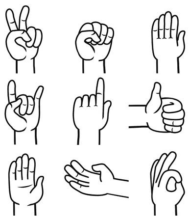 set of hands and gestures - outline illustration