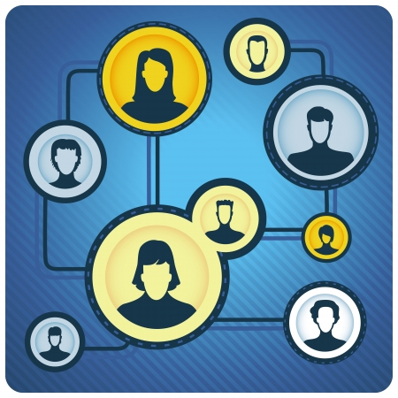 Vector global communication concept - network with people icons Vector