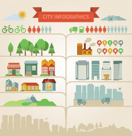 población: Vector de elementos de diseño de infografías sobre las ciudades y aldeas