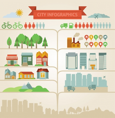 rural town: Vector design elements for infographics about city and village Illustration