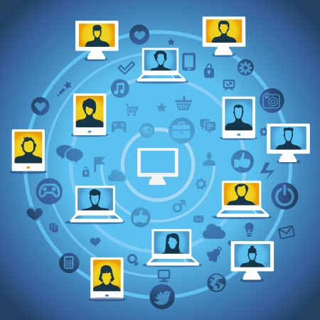 Vector global communication concept - computers with people icons Stock Vector - 15968866