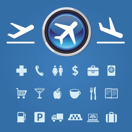 collection of icons and pointers for navigation in airport Stock Vector - 16082371