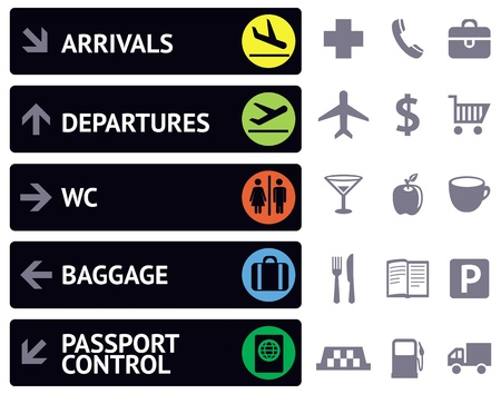 people traveling: collection of icons and pointers for navigation in airport