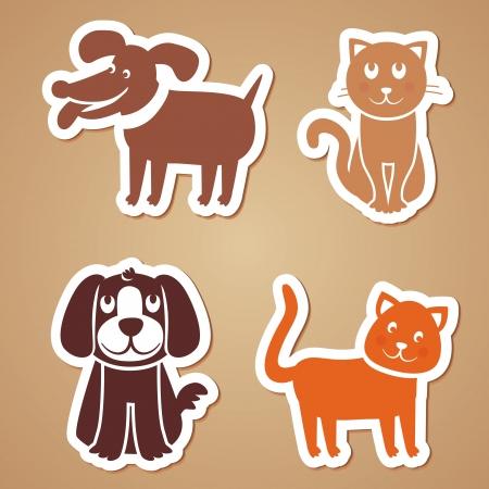 chiot et chaton: les chiens et les chats dr�les de bande dessin�e - autocollants
