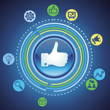 social media concept - marketing icons and like sign Vector