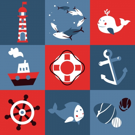 set with nautical design elements - cartoon illustration in retro style Vector