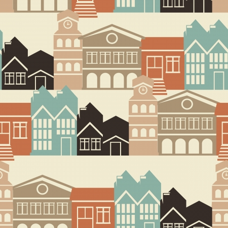 seamless pattern with house and building icons in  retro style Vector