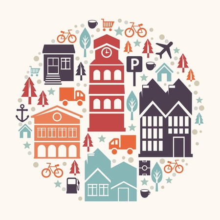 city concept illustration - with house and building icons Vector