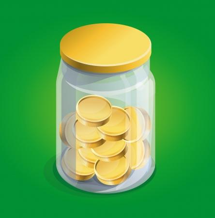 spaarpot met gouden munten op groene achtergrond Vector Illustratie